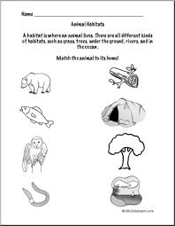 animal habitats worksheets worksheets