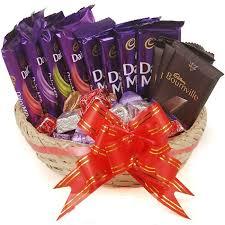chocolate basket delivery cadbury chocolate combo with gorumet chocolate basket online