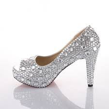 silver wedding shoes wedges velcans velcans pretty sparkly silver rhinestone open toe