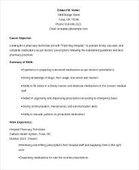 pharmacy technician resume exle hospital pharmacy technician resume what objectives to mention in