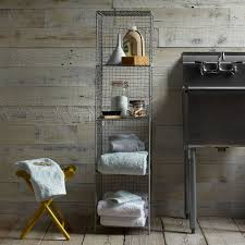 wire mesh storage standing shelving rack west elm