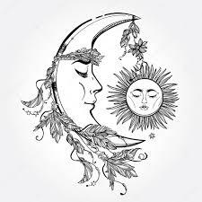 crescent moon and sun vector stock vector katja87