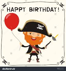 happy birthday funny pirate red balloon stock vector 610056572