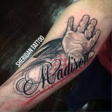 handprint baby name tattoo atona melbourne australia ink