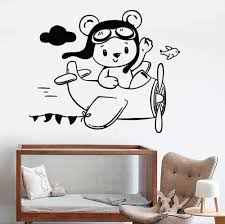 popular aviation wall buy cheap aviation wall lots from china removable vinyl wall decal little teddy bear aviator plane wall stickers for children s room waterproof art