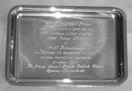 engraved silver platter sterling silver wedding invitation tray