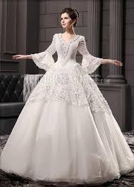 robe de mari e magnifique magnifique col en v broderie applique dentelle robe de mariée de