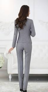 womens formal work suit pants black grey ladies career dress suit