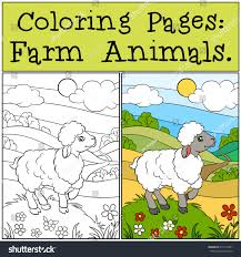 coloring pages farm animals little cute stock vector 419713591