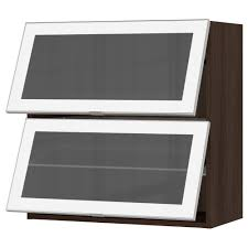 sektion horizontal wall cabinet 2glass door wood effect brown
