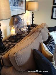 console table behind sofa against wall behind the couch table womenforwik org