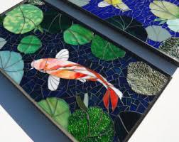 Koi Outdoor Rug 2pc Zen Mini Koi Mosaic Panels Stained Glass Wall Panel Koi