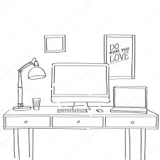 hand drawn sketch of comfortable workspace with work table lamp