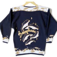fish sweater vintage 90s whales dolphins or dingleberries tacky fish