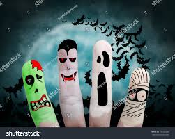 monsters halloween painted finger monsters halloween zombie vampire stock photo