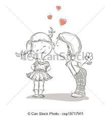 vector clip art of hand drawn illustration of kissing boy and