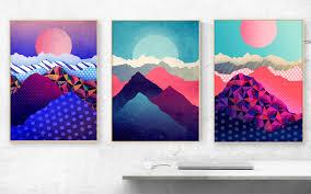 set of three landscape art prints art prints nature prints