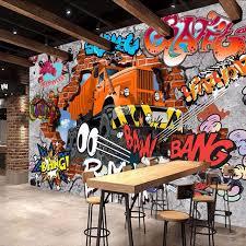 graffiti boys bedroom online shop 3d broken brick wall graffiti cartoon cars mural for