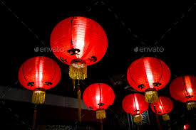 luck lanterns lanterns for luck lit during new year stock photo