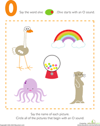 letter sounds o worksheet education com