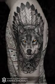 Wolf Indian Tattoos - cool style wolf with yellow tatoo on shoulder