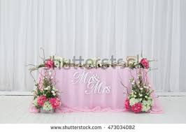 mr mrs wedding table decorations wedding table decorated flowers mr mrs stock photo 473034082