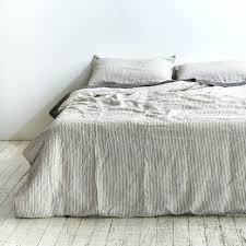 Ikea Linen Duvet Cover Chambray Grey Linen Duvet Cover With Soft White Piping Available