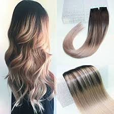how to fade highlights in hair dark brown hairs amazon com beautymiss 14 pu tape in hair extensions balayage