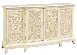 swirl carved breakfront console antique white traditional
