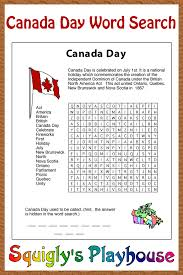 squigly u0027s canada day word search