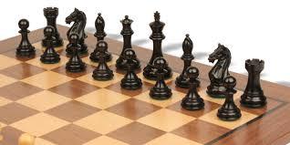 fierce knight staunton chess set in ebonized boxwood with walnut