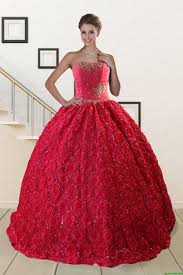 quinceanera dresses coral customize rolling flower beading 2015 quinceanera dresses in coral