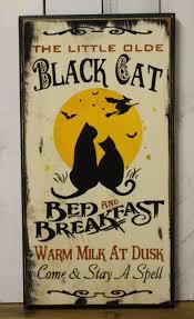 black cat sign bed breakfast halloween sign vintage