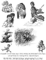 harry potter book 1 chapter 13 vignette drawings