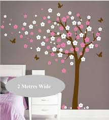aliexpress com buy 250x240cm huge tree blowing cherry blossom aliexpress com buy 250x240cm huge tree blowing cherry blossom wall decal nursery tree flowers butterfly art baby kids room wall sticker nature d383 from