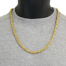 mens byzantine necklace images Mens 22 inch solid 9ct yellow gold flat byzantine chain 53 grams jpg
