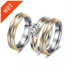 diamond couple rings images High polished grooved zircon diamond couple engagement rings set jpg