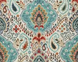 Turquoise Paisley Curtains Red Paisley Etsy