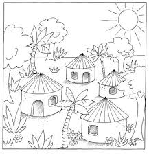 how to draw village scene for kids sketch coloring page