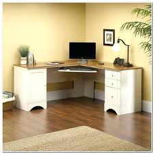 Sauder Harbor View Corner Computer Desk In Antiqued Paint Sauder Harbor View Corner Computer Desk Antiqued White Finish