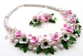necklace flower handmade images Pink jewelry sakura cherry blossom flower jewelry snowdrop jpg