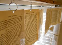 tattered style book page window treatment
