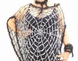 Spider Halloween Costume Crochet Pattern Size Spiderweb Shawl Mittens