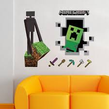 game minecraft pattern wall stiker home decration mixed color x