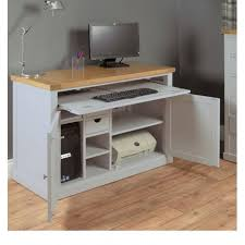 Solid Computer Desk This Grey Computer Desk With Solid Oak Top Is Made Of Wood New