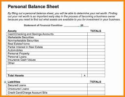 4 personal balance sheet template model resumed