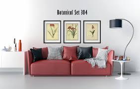 Bedroom Wall Framed Art Set Of 3 Botanical Prints Red Floral Prints Set Of 3 Framed