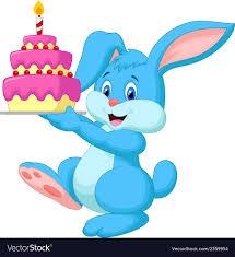 rabbit birthday rabbit with birthday cake royalty free vector image