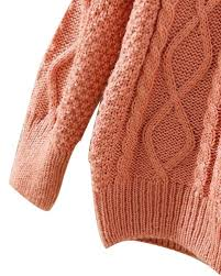 pink round neck chunky cable knit sweater st0230080 3