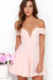 light pink short dress cute off the shoulder dress light pink dress skater dress 49 00